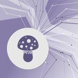 Komarnicy bedłki pieczarki ikona na purpurowym abstrakcjonistycznym nowożytnym tle Linie w wszystkie kierunkach Z pokojem dla twó Obrazy Stock