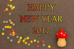 Komarnicy pieczarka z confetti dla nowego roku 2017 Zdjęcie Royalty Free