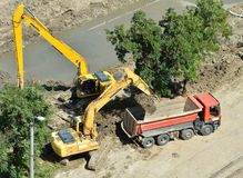 Komatsu excavators on construction site Royalty Free Stock Image