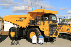 Komatsu HD605 Rigid Dump Truck on Display. HYVINKAA, FINLAND - SEPTEMBER 11, 2015: Komatsu HD605 Rigid dump truck for mining on display at MAXPO 2015 Stock Photography