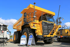 Komatsu HD605 Rigid Dump Truck on Display. HYVINKAA, FINLAND - SEPTEMBER 11, 2015: Komatsu HD605 Rigid dump truck for mining on display at MAXPO 2015 Stock Photos