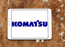Komatsu Limited company logo. Logo of Komatsu company on samsung tablet. Komatsu is a Japanese multinational corporation that manufactures construction, mining stock photo