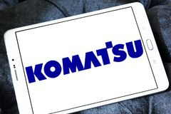 Komatsu Limited company logo. Logo of Komatsu company on samsung tablet. Komatsu is a Japanese multinational corporation that manufactures construction, mining royalty free stock photo