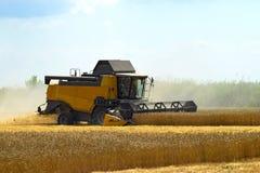 Kombain si raccoglie sul raccolto del grano Macchinario agricolo nel campo Fotografie Stock