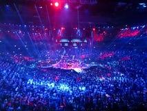 Kombank竞技场在贝尔格莱德,塞尔维亚- 2014年6月06日:生活音乐会 免版税库存照片