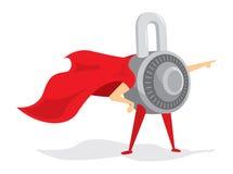 Kombinaci kłódka jako ochrona super bohatera kędziorek Obrazy Royalty Free