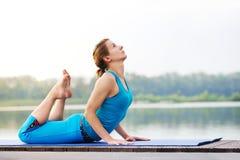 Kombinacja joga łęku poza i oddolny obszycie pies pomagamy str zdjęcie royalty free
