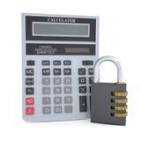 Kombinacja kalkulator i kędziorek Zdjęcia Stock