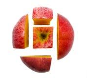 Kombinacja pięć czerwieni jabłka plasterków Fotografia Royalty Free