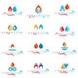 Kombinacja wody i ogienia elementów abstrakcjonistyczni logotypy inkasowi ilustracji