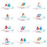 Kombinacja wody i ogienia element?w abstrakcjonistyczni logotypy inkasowi ilustracji