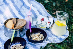 Kombination av frukt, granola, kex, yoghurt, bröd, lemonad Arkivfoto