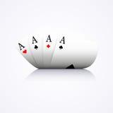 Kombinationen för fyra överdängare, poker, kasino, buktade, Arkivfoto