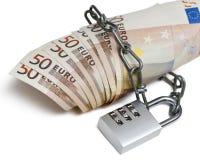 Kombinationsschloß und Euro Lizenzfreie Stockfotos