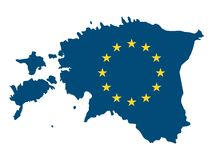 Kombinerad översikt och flagga av EU-landet av Estland stock illustrationer