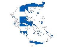 Kombinerad översikt och flagga av Grekland vektor illustrationer