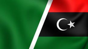 Kombinerad flagga av Libyen stock illustrationer