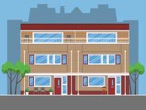 Kombinerade enkla radhus Plan stil Royaltyfri Bild