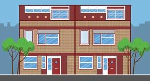 Kombinerade enkla radhus Plan stil Arkivfoto