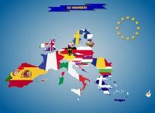 Kombinerade flaggaöversikter av länder för europeisk union royaltyfri illustrationer