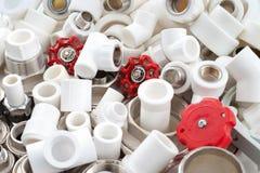 kombinerade monteringar pipe unioner Arkivfoto