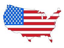 Kombinerade USA flagga och översikt stock illustrationer
