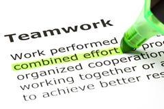 Kombinierte Bemühung hervorgehoben, unter Teamwork Lizenzfreies Stockbild