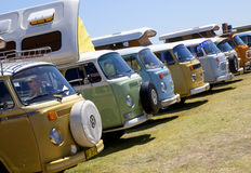 Kombis. At Old Bar beach festival Mid North Coast of NSW Australia. It is a annual gathering of the most  and transporters in one area at one time. Prizes are Royalty Free Stock Photography