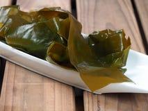 Kombu Kelp - Alga Kombu. Kombu kelp is a large brown algae seaweed. Binomial name: Laminaria Ochroleuca. It is an edible seaweed used extensively in Japanese royalty free stock photos