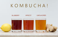KOMBUCHA BLUEBERRY, APRICOT, UNFLAVORED. COPYSPACE. Stock Photos