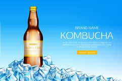 Kombucha bottle on ice cubes heap mockup banner. Fermented tea drink made of mushroom, healthy beverage glass flask mock up on blue background, advertising ad stock illustration