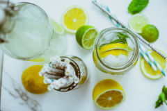 Kombucha with lime and lemon in the bottle Royalty Free Stock Photo