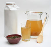 Kombucha Tea 1. An arrangement of items involved in cultivating Kombucha - a healthy drink from ancient Asia Stock Photography