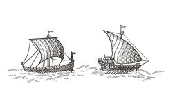 Kombuis en Drakkar-Schepen royalty-vrije illustratie