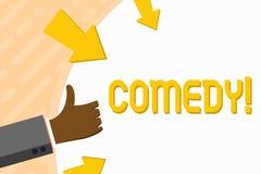 Komedi för ordhandstiltext Affärsidéen för gyckel blidkar satirisk situationskomediuppsluppenhet som skojar underhållning som skr royaltyfri illustrationer