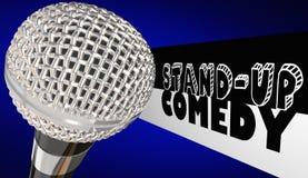 Komediförfattare Open Mic Performance 3d Illu för ställnings-Uppkomedimikrofon Royaltyfri Bild