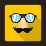 Komedii imitaci nosa wąsy, brwi, szkło ikona ilustracja wektor