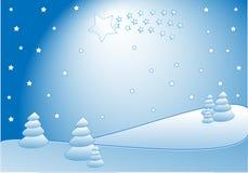 Komeet in de winterlandschap Royalty-vrije Stock Afbeelding