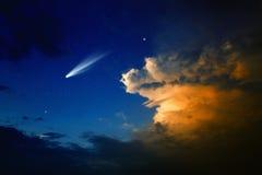 Komeet in hemel Royalty-vrije Stock Fotografie
