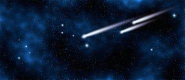 Komeet in sterrige hemel in melkweg, elementen van dit beeld dat door NASA wordt geleverd stock afbeeldingen