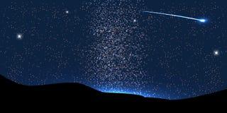 Komeetvlieg rond de Planeet in Ruimte Vector royalty-vrije illustratie