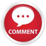 Komentuje (rozmowy ikony) premia czerwonego round guzika Obraz Stock
