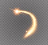 Komet flyger Guld som blänker slingan för stjärnadamm som blänker partiklar på den genomskinliga bakgrunden Royaltyfri Fotografi