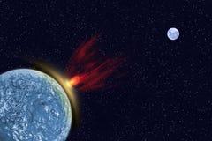 Komet schlug den Planeten lizenzfreie abbildung