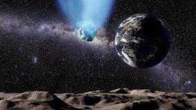 Kometa lata nad księżyc krajobrazem w kierunku planety ziemi royalty ilustracja