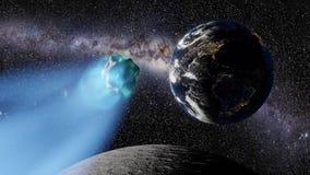 Kometa lata nad księżyc w kierunku planety ziemi ilustracja wektor