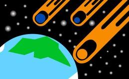 Kometen, die in Richtung zur Erde fliegen Stockfotos