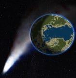 Kometen, dustborne Endstück des Kometen auf einem Hintergrund ein Planet Stockfoto