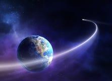 kometjord som flyttar sig förbi planet royaltyfri illustrationer