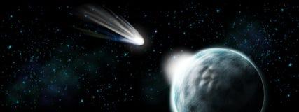 Komety uderzenie na ziemi - apocalypse i końcówka czas Zdjęcie Stock